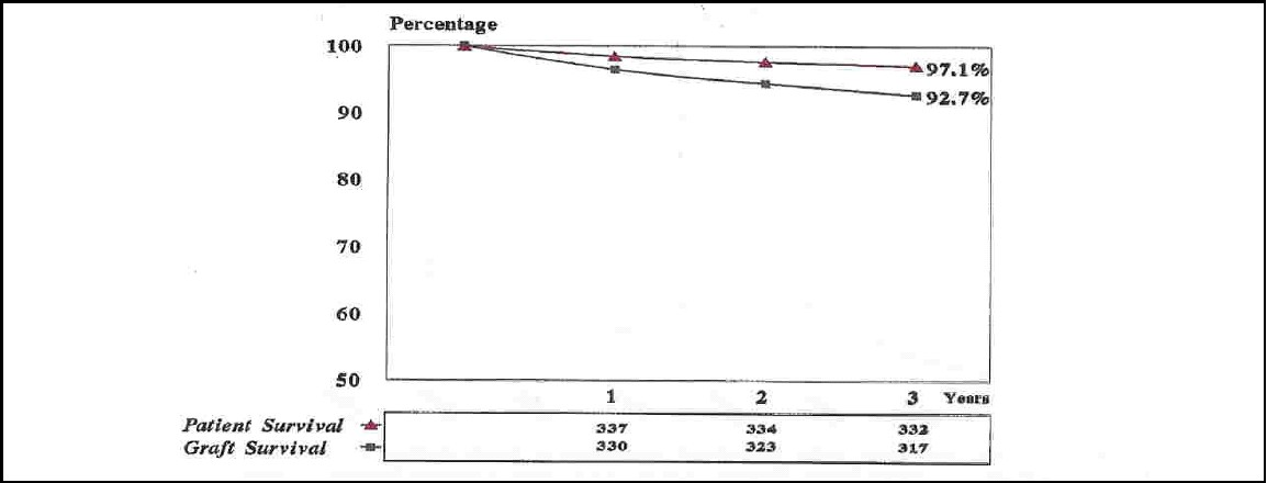 Figure 12. Patients and graft survival rates at 1,2, and 3 years of living donor renal transplantation (n=342)