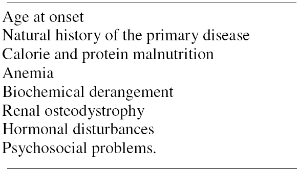 Table 1. Etiologic and pathogenetic factors of growth impairment in chronic renal disease.