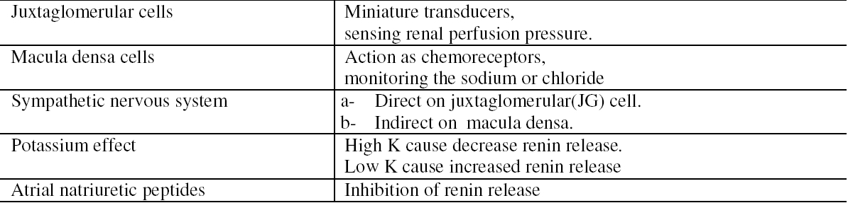 Table 2. The interdependent factors controlling the release of renal renin
